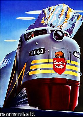 Canadian Pacific Railroad Train Vintage Travel Art Advertisement Poster