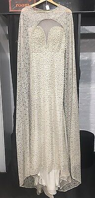 New Pearl Cape Ivory Wedding Dress Prom Evening Party Maxi Size 10/12 Bridesmaid