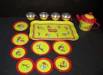 Curious George Schylling tin tea set cups tray saucers plates cake pancake image