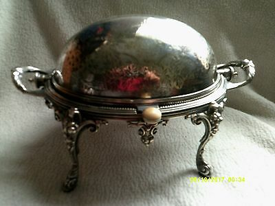Very Decorative Antique Silver Plated Revolvng Top Breakfast Serving Dish