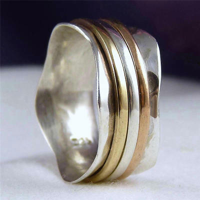 US 9 3/4 NARROW WAVE 3-SPIN SPINNER Solid SilverSari Ring 925 Sterling Silver