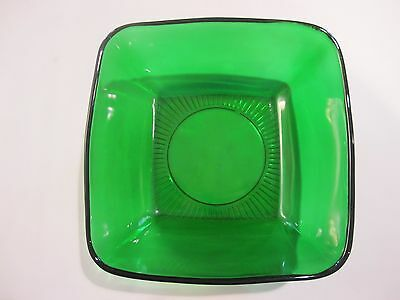 Anchor Hocking Charm-Forest Green 7-3/8' Square Salad Bowl - Vintage (1940-60)
