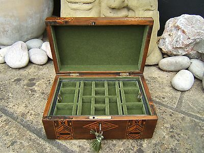LOVELY 19c VICTORIAN ANTIQUE INLAID WALNUT JEWELLERY BOX - FAB INTERIOR