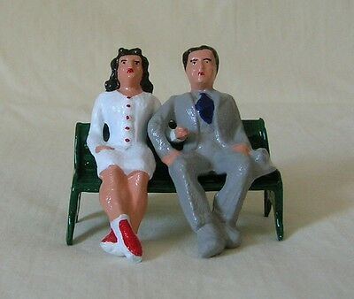 Seated couple on park bench, Standard Gauge train layout figures, New/Repro