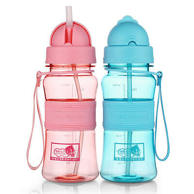 Leakproof Kids Baby Tritan BPA Free Water Bottle with Straws,Carry Strap 10 oz