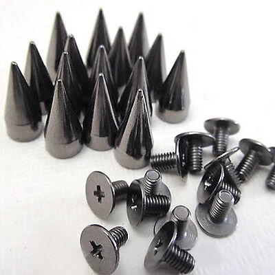 1000pcs 14mm Black Cone Screw Metal Studs Leathercraft Rivet Bullet Spikes PUNK