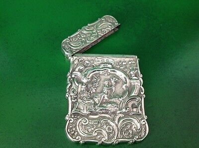 Nathaniel Mills Ceres High Relief Antique English Sterling Silver Card Case 1846