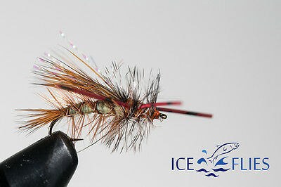 ICE FLIES, Dry Fly. Stimulator. Rubber legs Size 12 - 16 (4 pack)