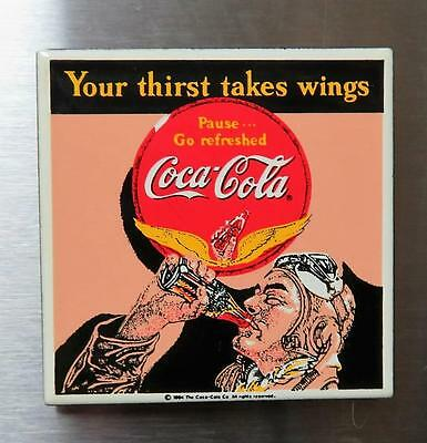 "Vtg Coca Cola Porcelain Magnet by Ande Rooney ""Your thirst takes wings"" 1990's"