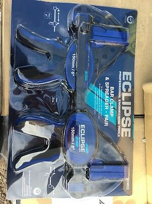 """2 x Eclipse 150mm 6"""" Quick Grip One Handed Trigger G Clamp & Spreader EOHBC6X2"""