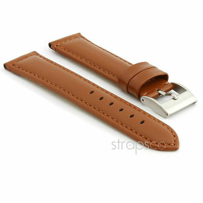 StrapsCo Smooth Leather Watch Band Strap in Tan w/ Stainless Buckle