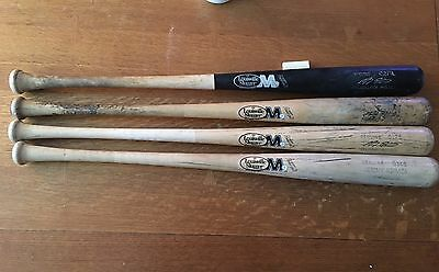Lot Of 4 Game Used Louisville Slugger M9 Uncracked Bats Marcus Giles Hermida