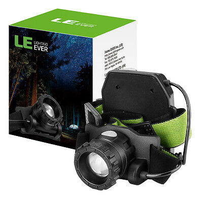 LE CREE LED Headlamp Zoomable Rechargeable Battery Powered head torch Camping UK