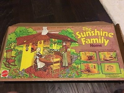 Vintage Mattel Sunshine Family Toys Home With Box And Accessories Wow