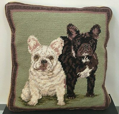 "Two French Bulldog (Black and White) Dog Handmade Needlepoint Pillow 12"" by 11"""