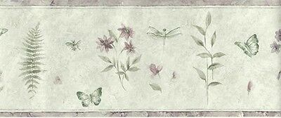 NEW Norwall Floral Butterfly Botanical Dragonfly Wallpaper Border 15 Yd SP74483