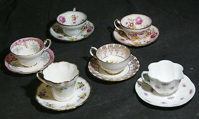 Lot of 6 Pink and White Floral Pattern English Cups & Saucers