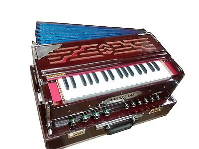 Teak 5 Scale Changer Harmonium Light Weight Baja 2 Set 440 Tuned With Case