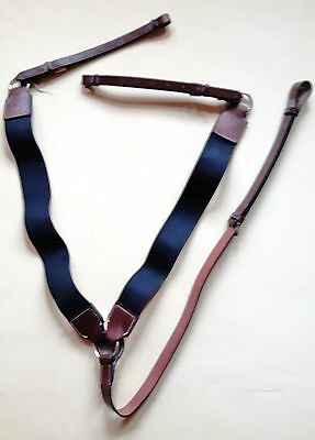 3 Point English Leather Breastplate Brown & Black Elastic Full Size UK Made