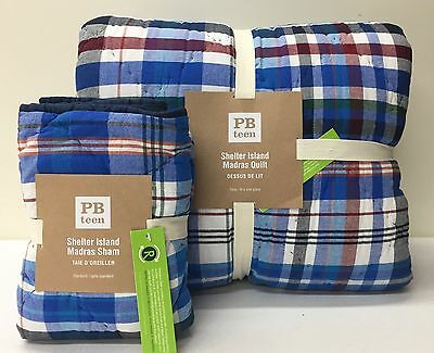 NEW Pottery Barn TEEN Shelter Island Madras Plaid TWIN Quilt w/STANDARD Sham