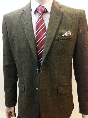 Mens Tweed Herringbone Green Blazer Jacket blackTrim King Size ; 36 to 62 chest