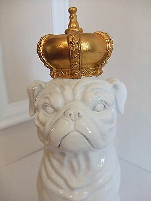 """Pug Dog Statue with Gold Crown 11.5"""" Tall"""