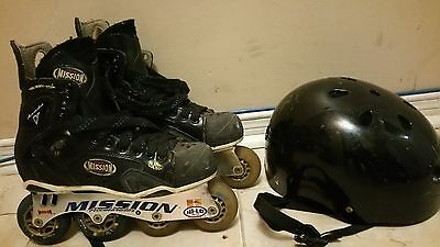 Mission Accelerator  Roller Blade Size 6D  With Helmet