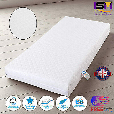 Baby Cot bed Mattress Breathable Waterproof Foam Toddler Junior All Sizes