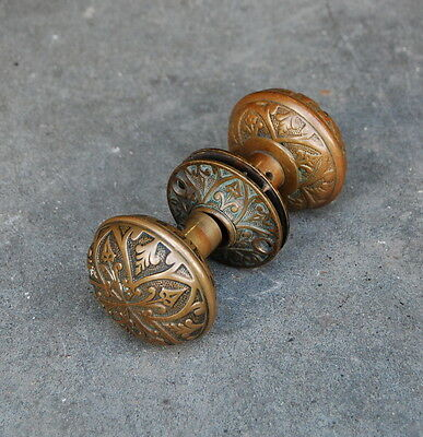 Antique Cast Brass Norwalk Lock  Doorknob Set  Escutcheon Plates, Door Hardware