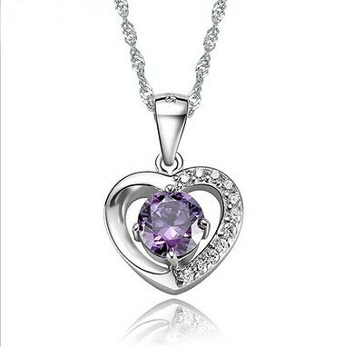18K White Gold GP Austrian Crystal Charm  Heart Necklace Pendant Chain N46b