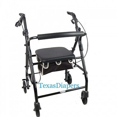 Cardinal BLACK ROLLATOR Rolling Medical Walker With Seat