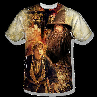 The Hobbit Bilbo and Gandalf Sublimation Front Print T-Shirt Size XXXL, UNWORN