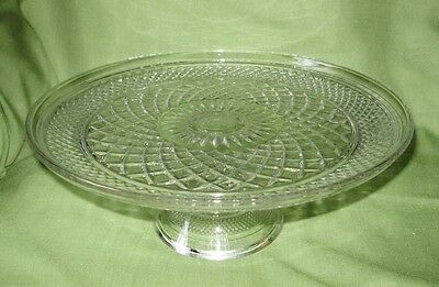 Crystal Cake Pedestal Stand~Wexford~Anchor Hocking~MINT