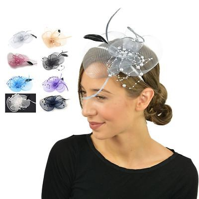 Feather Beak Clip Fascinator with Pearls Ladies Day Races Wedding Royal Ascot