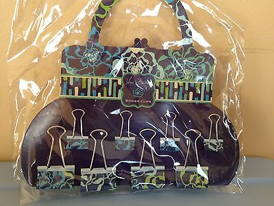 NWT Vera Bradley Binder Clips Stationery Katalina Blues Paper Clip Holders 8 P