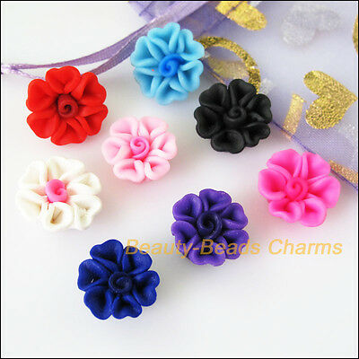 4 Handmade Polymer Clay Beads large  Jewelry Making Rose Mixed Color 35x35x15mm