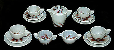 Akro Agate Red / Oxblood Marbleized Small Children's Dish / Tea Set - COMPLETE