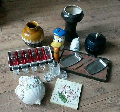 Joblot of vintage retro items, glasses, german vases, resale, boot sale etc