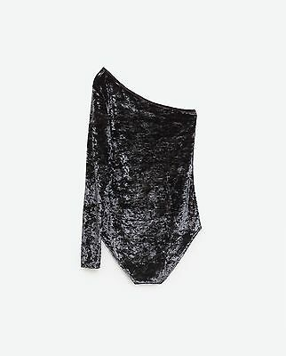 Bnwt Zara Crushed Velvet One Shoulder Body Suit Grey Or Black Available Size S