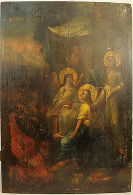 ca1850 ANTIQUE RUSSIAN ORTHODOX ICON RELIGIOUS ART OLD TESTAMENT TRINITY ИКОНА