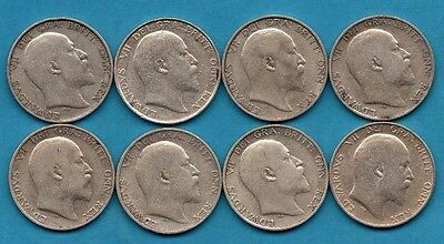1902 1903 1904 1906 1907 1908 1909 1910, 8 X Silver Shilling Coins. Edward Vii
