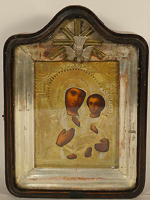 ca1890 ANTIQUE RUSSIAN ORTHODOX RELIGIOUS ICON TIKHVIN MADONNA OKLAD KIOT ИКОНА