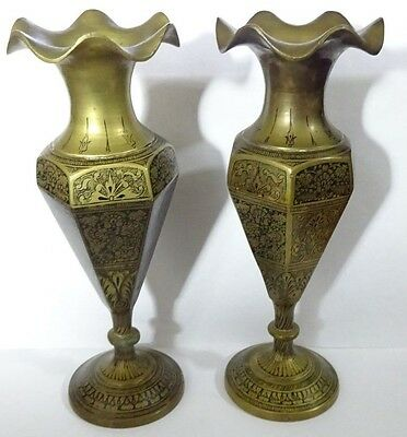 Pair Of Antique Vintage Brass Vases Candle Holders Finely Etched