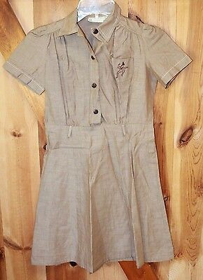 Vintage 1950s Girl Scouts Brownies Official Brown Dress Uniform Stiched Logo