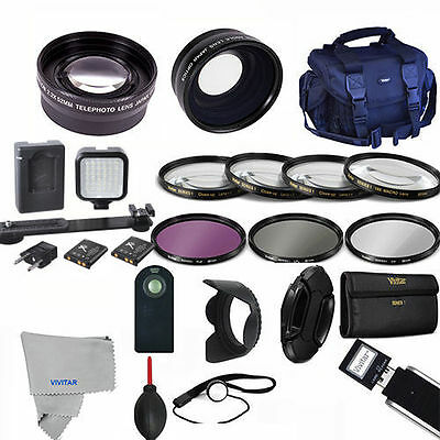 Professional Led / Lens / Accessory Kit For Canon Eos Rebel T5 T6 T7 T3 T5I 70D