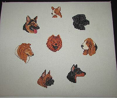 "Unframed Completed  Needlepoint 8 Dogs  12""  X  10"""