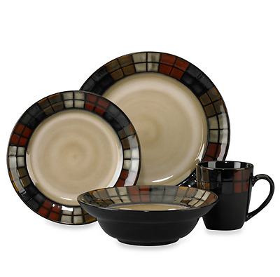 Pfaltzgraff Calico 16 Piece Dinnerware Set Dinner 4 Setting Service Stoneware