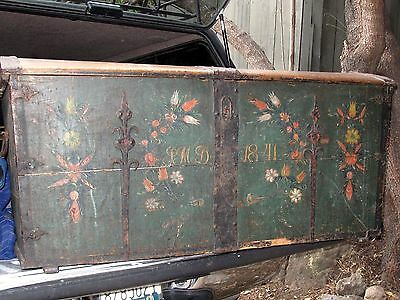 Hand Painted  Scandinavian Immigrant Trunk Dated 1841