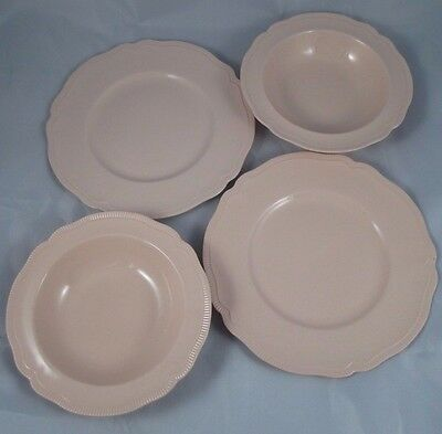 4 Pc Vintage Johnson Brothers ROSEDAWN Ribbed Scalloped Rims 2 Bowls & 2 Plates