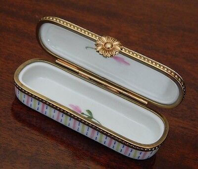 Limoges Pill Box / Trinket Box / Needle Case - Hand Painted